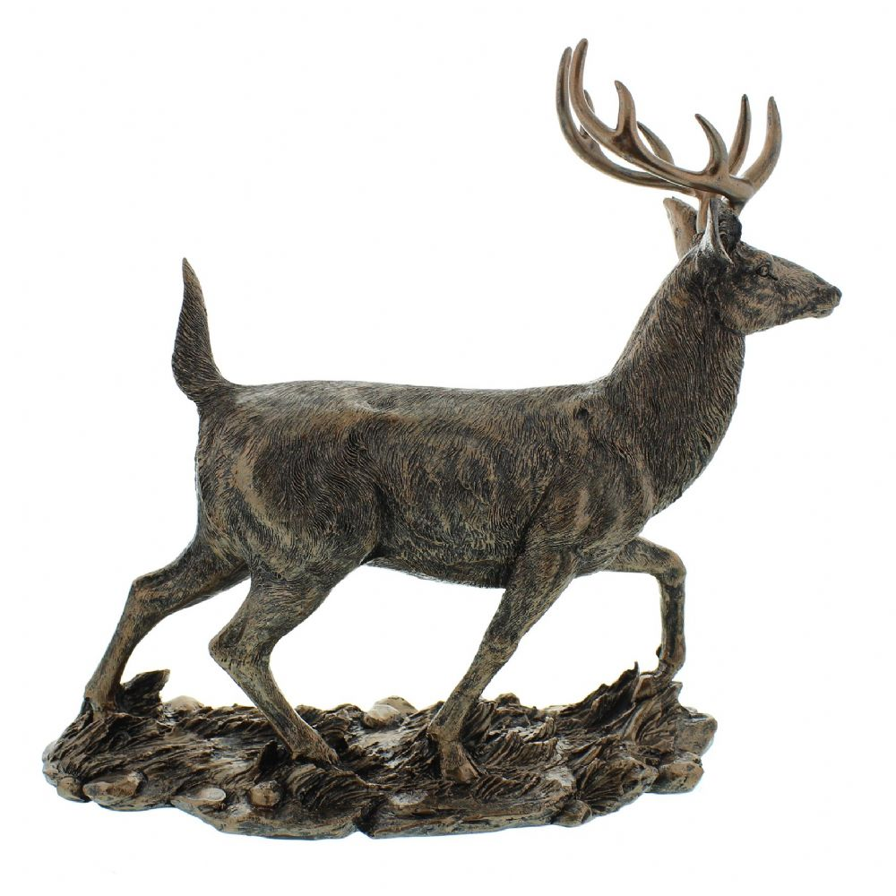 Bronze Stag Figurine - Contemporary Decor Bronze Finish Stag Figurine